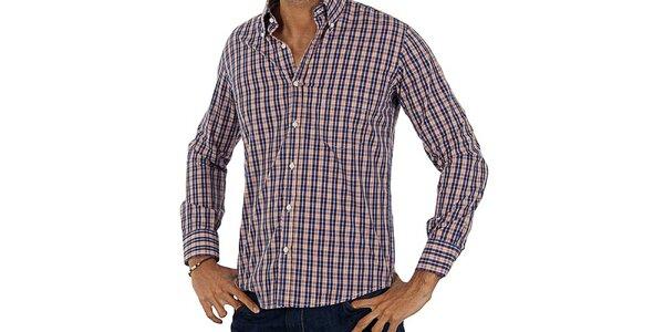 Pánská oranžovo-modrá kostkovaná košile Lotto