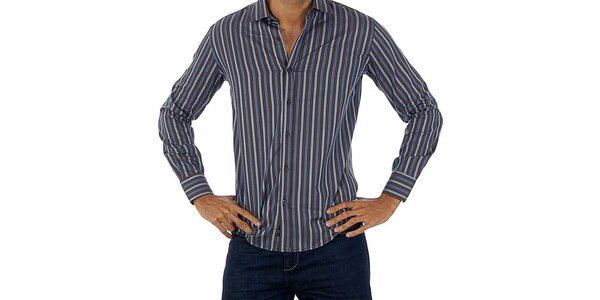 Pánská hnědo-modrá pruhovaná košile Lotto