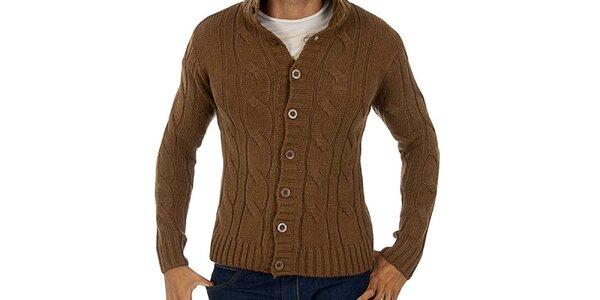 Pánský hnědý propínací svetr s copánky Lotto
