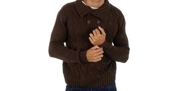 Pánský hnědý pletený svetr s copánky Lotto