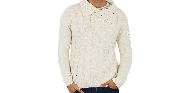 Pánský bílý pletený svetr s copánky Lotto