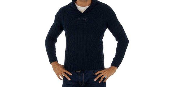 Pánský modrý pletený svetr Lotto s copánky