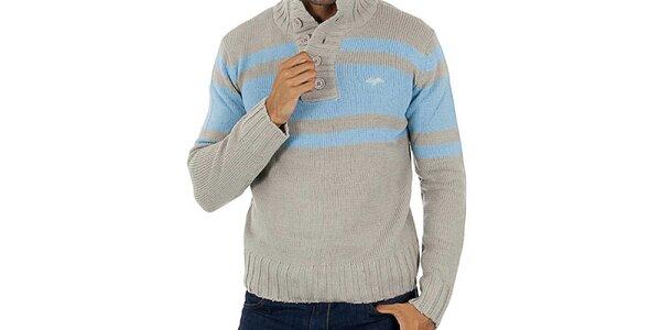 Pánský šedý svetr s modrými pruhy Lotto