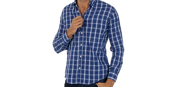 Pánská modro-bílá kostkovaná košile Lotto
