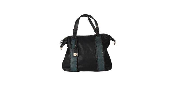 Dámská černá kabelka s ozdobnými pruhy Dudlin