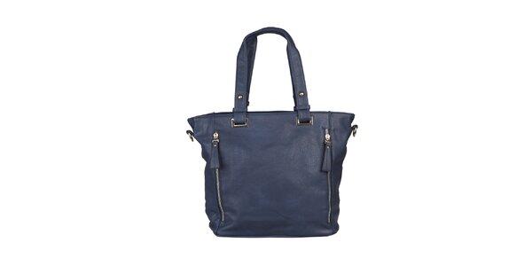 Dámská tmavě modrá kabelka s postranními zipy Dudlin