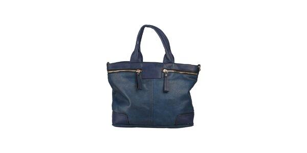 Dámská modrá kabelka s ozdobnými zipy Dudlin
