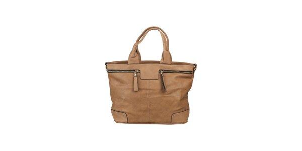 Dámská písková kabelka s ozdobnými zipy Dudlin