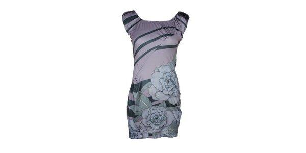 Dámské šedomodré šaty Smash s růžemi