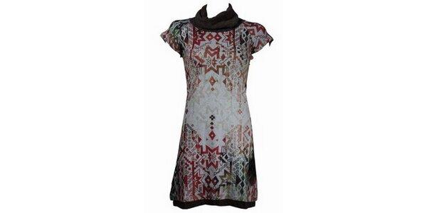 Dámské hnědo-béžové šaty Smash s africkým vzorem