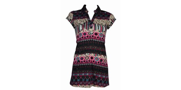 Dámské barevné vzorované šaty Smash s růžovými detaily