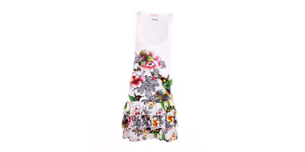 Dámské bílé šaty s kolibříky Smash