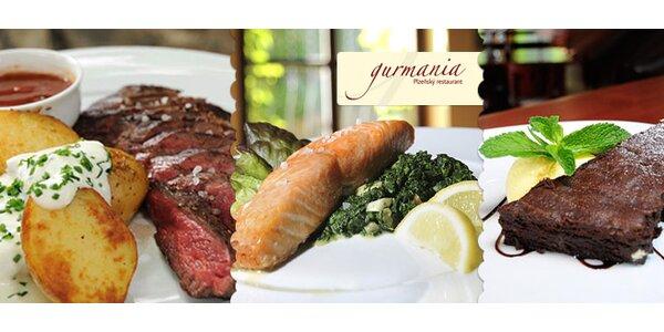 3chodové menu se steaky z lososa nebo býka