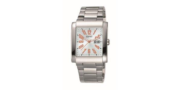Pánské hranaté stříbrné hodinky Esprit