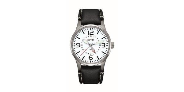 Pánské stříbrné hodinky s červenou vteřinovkou Esprit