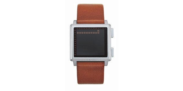 Pánské hranaté digitální hodinky Esprit s hnědým řemínkem