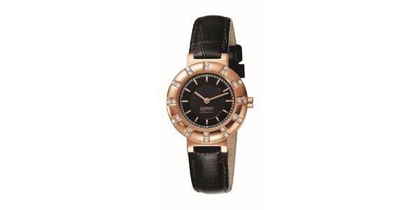 Dámské růžovo-černé hodinky s krystaly Esprit