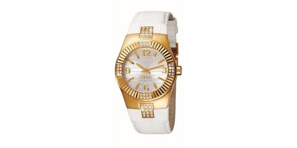 Dámské bílo-zlaté hodinky s krystalky Esprit