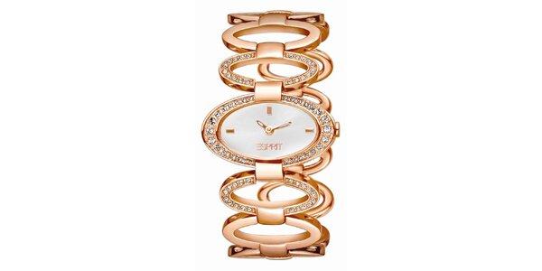 Dámské růžovo-zlatě tónované hodinky s krystaly Esprit