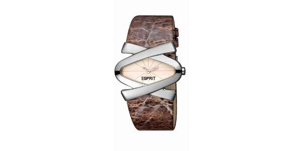 Dámské hnědo-stříbrné hodinky s koženým řemínkem Esprit