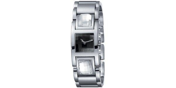 Dámské stříbrně tónované hodinky s černým ciferníkem Esprit