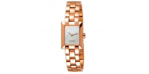 Dámské zlatě tónované náramkové hodinky Esprit