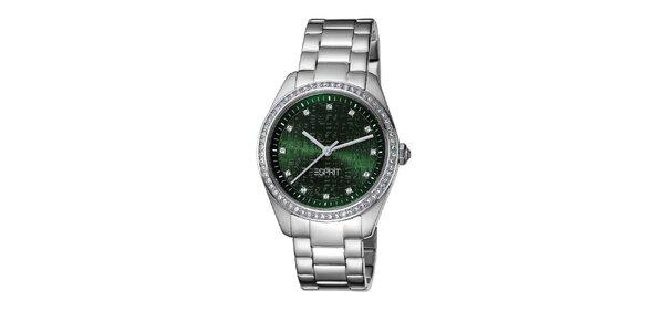 Dámské ocelové hodinky se zeleným ciferníkem Esprit
