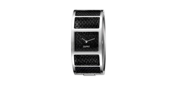 Dámské černé náramkové hodinky s hadím vzorem Esprit