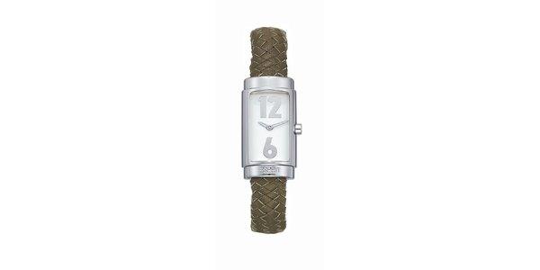 Dámské stříbrné hodinky s pleteným náramkem Esprit