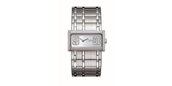 Dámské leštěné analogové hodinky s krystaly Esprit