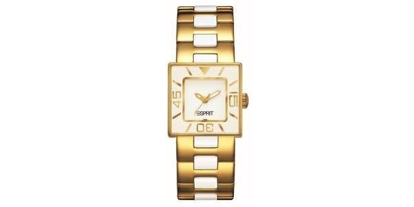 Dámské zlato-krémové hodinky s keramikou Esprit
