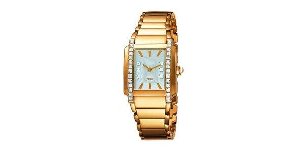 Dámské zlatě tónované hodinky s krystaly Esprit