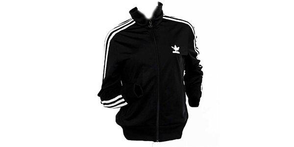 Dámská černá bunda s bílými pruhy Adidas