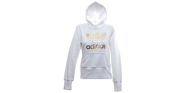 Dámská bílo-zlatá mikina Adidas