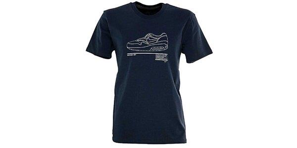 Pánské tmavě modré tričko s obrázkem boty Nike