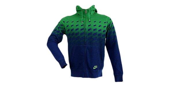 Pánská modro-zelená mikina s kapucou Nike