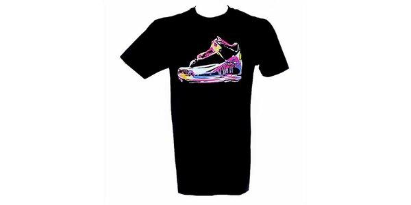 Pánské černé tričko s barevným potiskem Jordan
