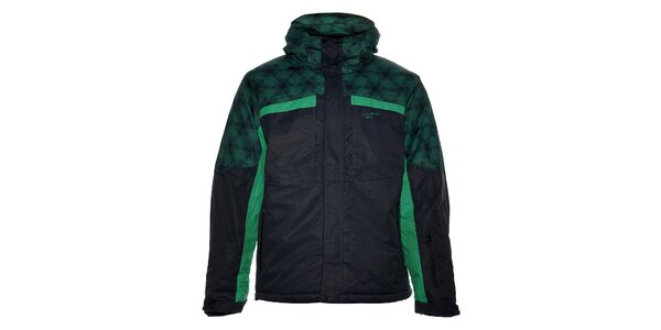 Pánská černá lyžařská bunda Loap se zeleným potiskem