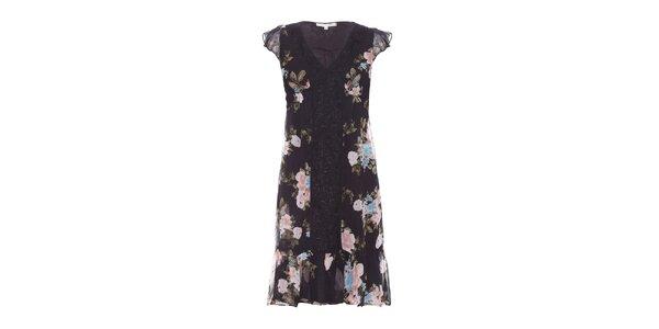 Dámské černé šaty Uttam Boutique s květinovým vzorem