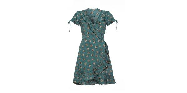 Dámské lahvově zelené šaty s volánky a potiskem Uttam Boutique
