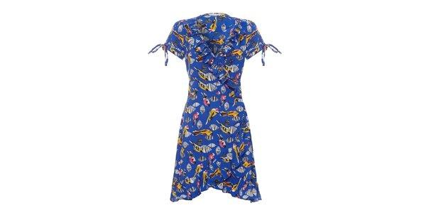 Dámské modré šaty Uttam Boutique s volány a ptáčky