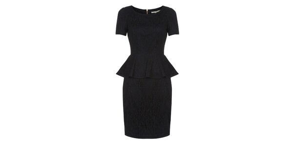 Dámské tmavě modré krajkové peplum šaty Uttam Boutique