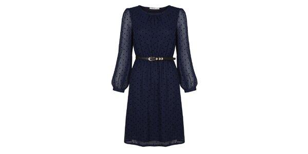 Dámské tmavě modré šaty s páskem a puntíky Uttam Boutique