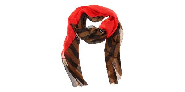 Dámský hnědo-zlatý hedvábný šál Fendi s červeným pruhem