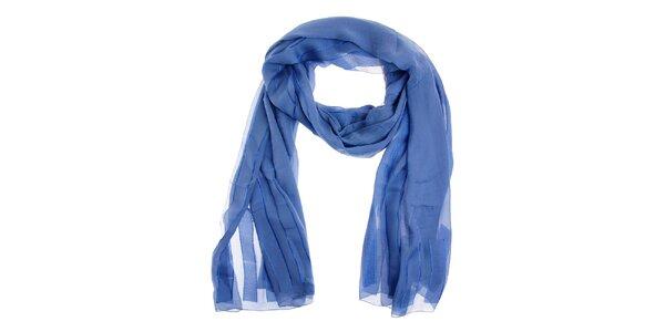 Dámský modrý hedvábný šál Fendi