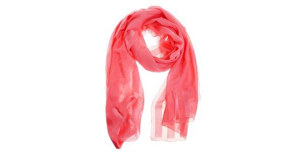 Dámský světle růžový hedvábný šál Fendi