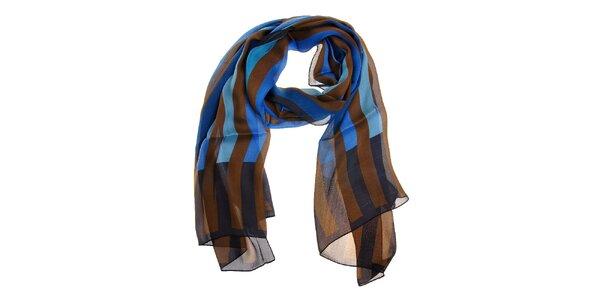 Dámský hnědo-modrý hedvábný šál Fendi s proužky