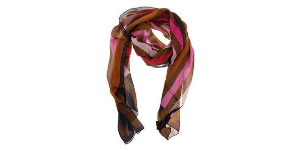 Dámský hnědo-růžový hedvábný šál Fendi s proužky
