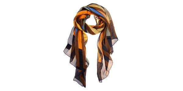 Dámský hnědo-oranžový hedvábný šál Fendi s proužky