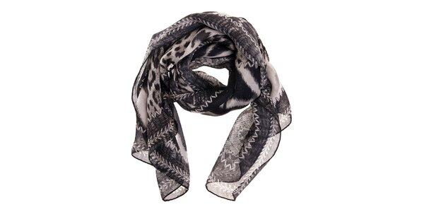 Dámský černo-stříbrný hedvábný šátek Roberto Cavalli se zvířecím vzorem